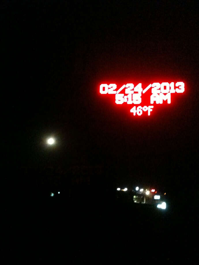 The Taft High School sign and the moon helped to orient Canales.