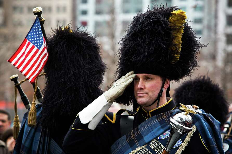 NEW YORK, NY - FEBRUARY 26:  A member of the Port Authority Pipes and Drums band stands at attention