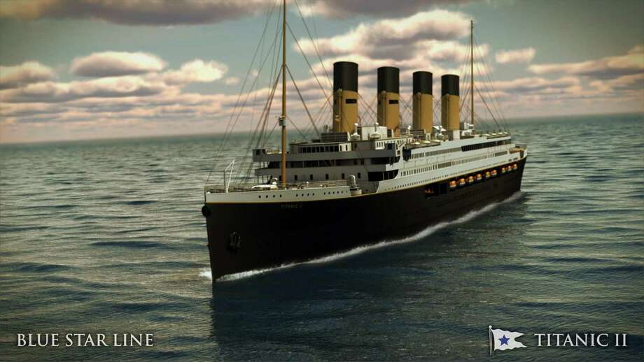In this rendering provided by Blue Star Line, the Titanic II is shown cruising at sea. The ship, which Australian billionaire Clive Palmer is planning to build in China, is scheduled to sail in 2016. Palmer said his ambitious plans to launch a copy of the Titanic and sail her across the Atlantic would be a tribute to those who built and backed the original. Photo: AP / Blue Star Line