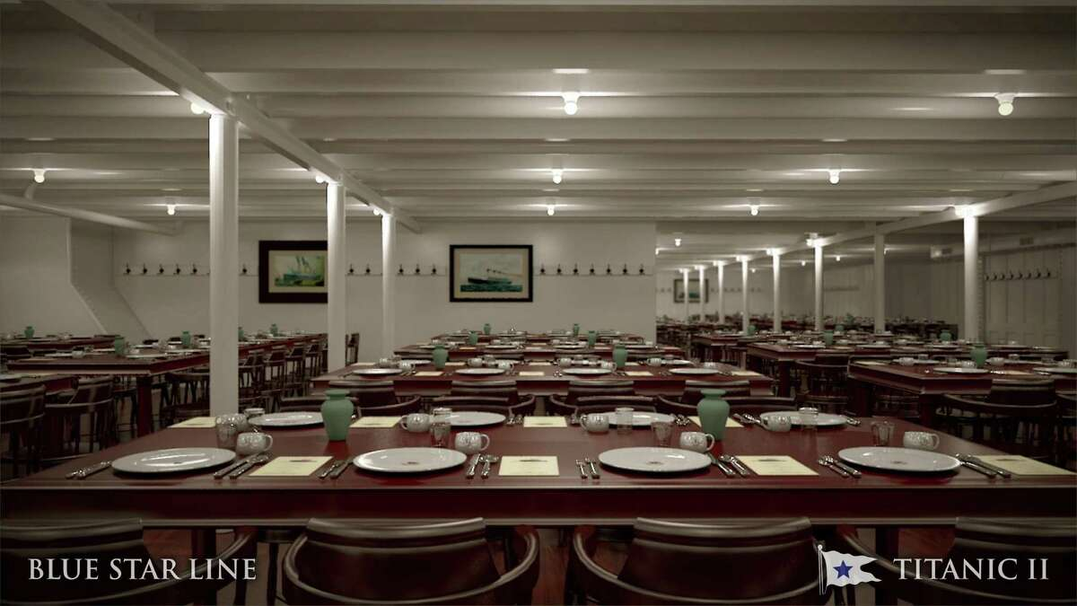 In this rendering provided by Blue Star Line, the third class dining room on the Titanic II is shown. The ship, which Australian billionaire Clive Palmer is planning to build in China, is scheduled to sail in 2016. Palmer said his ambitious plans to launch a copy of the Titanic and sail her across the Atlantic would be a tribute to those who built and backed the original.