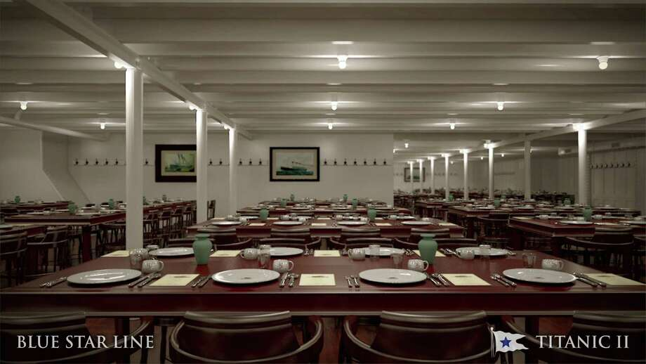 In this rendering provided by Blue Star Line, the third class dining room on the Titanic II is shown. The ship, which Australian billionaire Clive Palmer is planning to build in China, is scheduled to sail in 2016. Palmer said his ambitious plans to launch a copy of the Titanic and sail her across the Atlantic would be a tribute to those who built and backed the original. Photo: AP / Blue Star Line