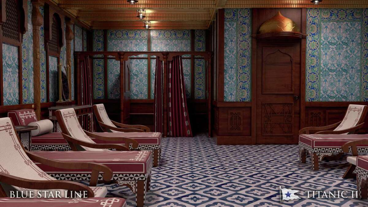In this rendering provided by Blue Star Line, the Turkish bath on the Titanic II is shown. The ship, which Australian billionaire Clive Palmer is planning to build in China, is scheduled to sail in 2016. Palmer said his ambitious plans to launch a copy of the Titanic and sail her across the Atlantic would be a tribute to those who built and backed the original.