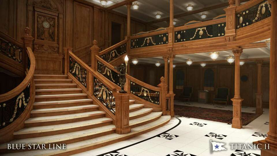 In this rendering provided by Blue Star Line, the grand staircase on the Titanic II is shown. The re