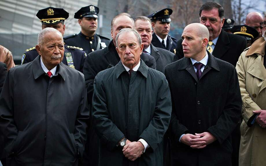 NEW YORK, NY - FEBRUARY 26:  Former New York City Mayor David Dinkins, left, and current New York City Mayor Michael Bloomberg, center, attend the 20th Anniversary Ceremony for the 1993 World Trade Center bombing at Ground Zero on February 26, 2013 in New York City. The attack, which utilized a car bomb and hit the north tower, killed six people. Photo: Andrew Burton, Getty Images / 2013 Getty Images