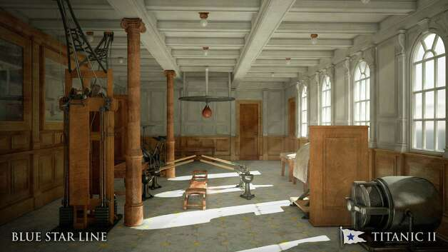 In this rendering provided by Blue Star Line, the gymnasium on the Titanic II is shown. The ship, which Australian billionaire Clive Palmer is planning to build in China, is scheduled to sail in 2016. Palmer said his ambitious plans to launch a copy of the Titanic and sail her across the Atlantic would be a tribute to those who built and backed the original. Photo: AP / Blue Star Line