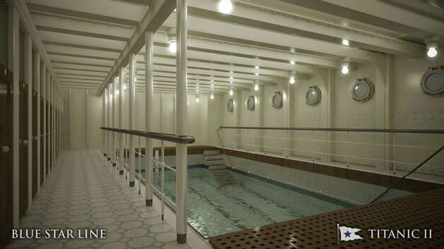 In this rendering provided by Blue Star Line, the swimming pool on the Titanic II is shown. The ship, which Australian billionaire Clive Palmer is planning to build in China, is scheduled to sail in 2016.The ship, which Australian billionaire Clive Palmer is planning to build in China, is scheduled to sail in 2016. Palmer said his ambitious plans to launch a copy of the Titanic and sail her across the Atlantic would be a tribute to those who built and backed the original. Photo: AP / Blue Star Line