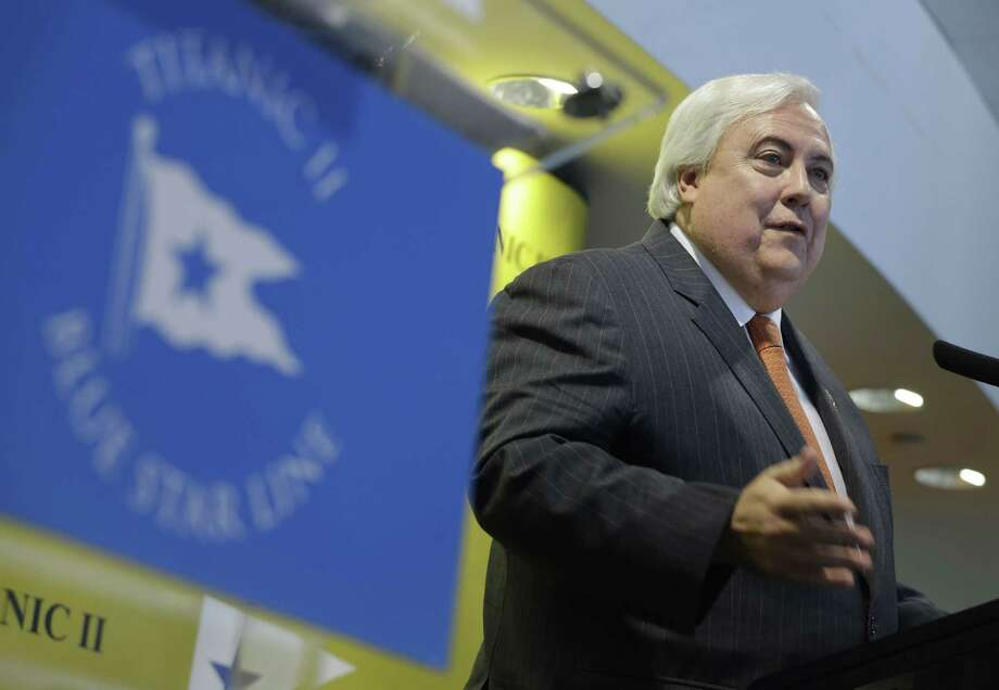 Australian billionaire Clive Palmer speaks during a news conference about his intention to build the Titanic II in New York, Tuesday, Feb. 26, 2013. Palmer is planning to build the ship in China and it is scheduled to sail in 2016. Photo: Seth Wenig, AP / AP