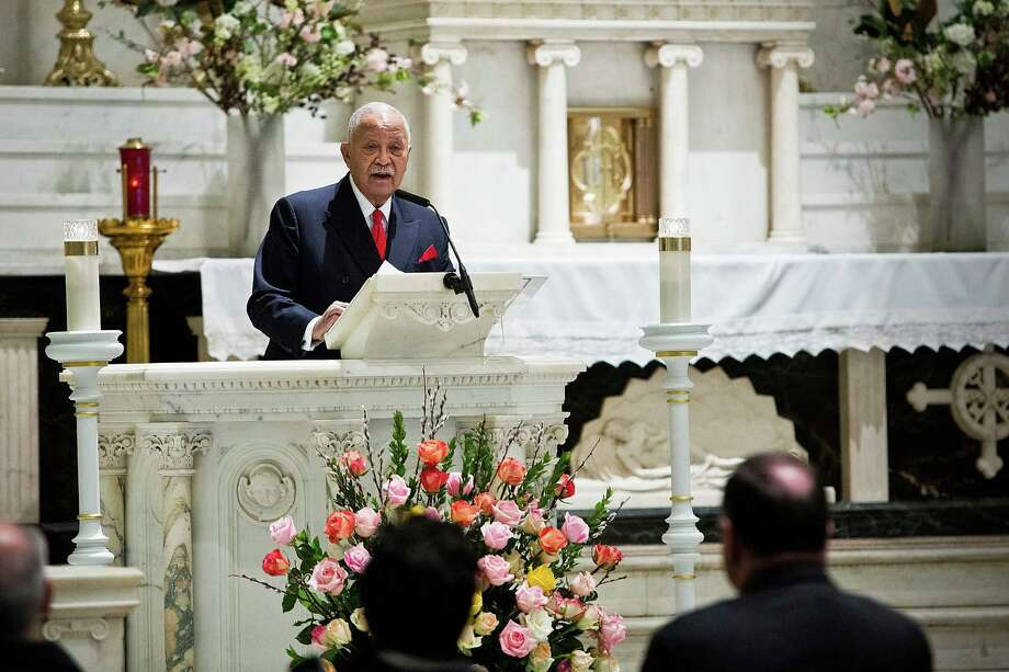 NEW YORK, NY - FEBRUARY 26:  Former New York City Mayor David Dinkins speaks at a mass at St. Patrick's Roman Catholic Church prior to the 20th Anniversary Ceremony for the 1993 World Trade Center bombing on February 26, 2013 in New York City. The attack, which utilized a car bomb and hit the north tower, killed six people. Photo: Andrew Burton, Getty Images / 2013 Getty Images