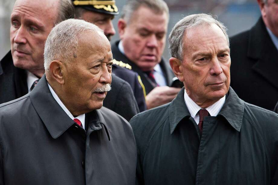 NEW YORK, NY - FEBRUARY 26:  Former New York City Mayor David Dinkins, left, and current New York City Mayor Michael Bloomberg attend the 20th Anniversary Ceremony for the 1993 World Trade Center bombing at Ground Zero on February 26, 2013 in New York City. The attack, which utilized a car bomb and hit the north tower, killed six people. Photo: Andrew Burton, Getty Images / 2013 Getty Images