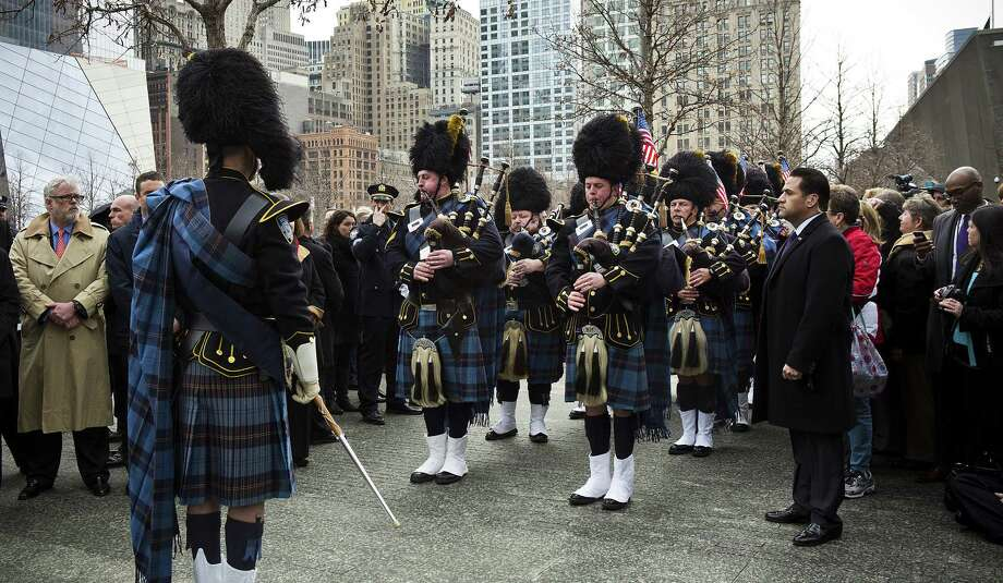 NEW YORK, NY - FEBRUARY 26:  The Port Authority Pipes and Drums band performs during the 20th Anniversary Ceremony for the 1993 World Trade Center bombing at Ground Zero on February 26, 2013 in New York City. The attack, which utilized a car bomb and hit the north tower, killed six people. Photo: Andrew Burton, Getty Images / 2013 Getty Images