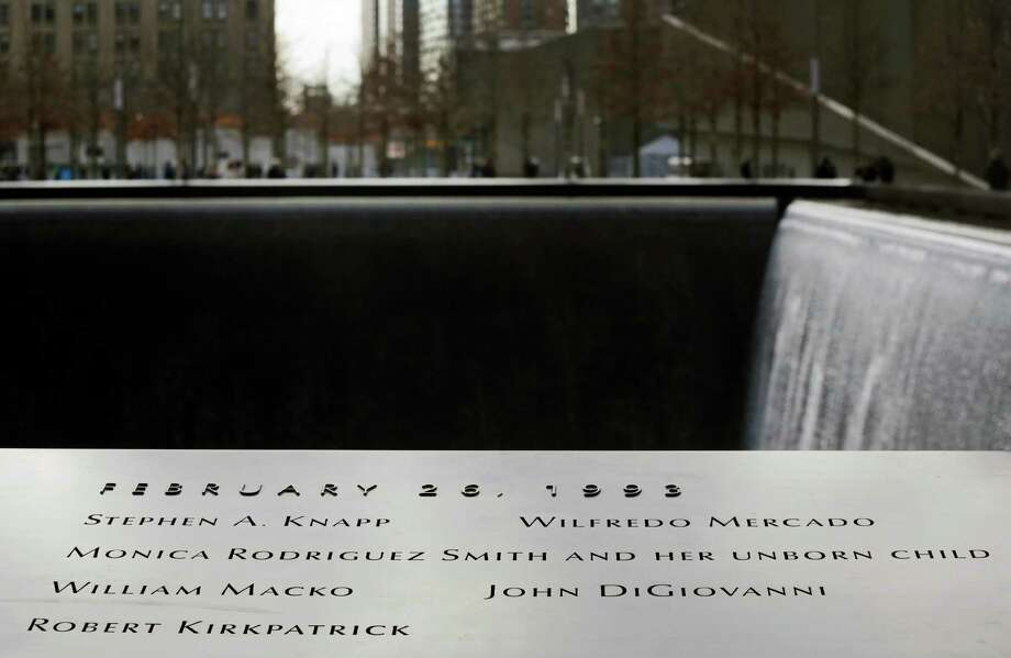 The names of the six people killed in the terrorist bombing of the World Trade Center are engraved at the National September 11 Memorial and Museum, Monday, Feb. 25, 2013 in New York. Tuesday will mark the 20th anniversary of the terrorist bombing beneath the World Trade Center that killed six people in 1993. Photo: Mark Lennihan, AP / AP