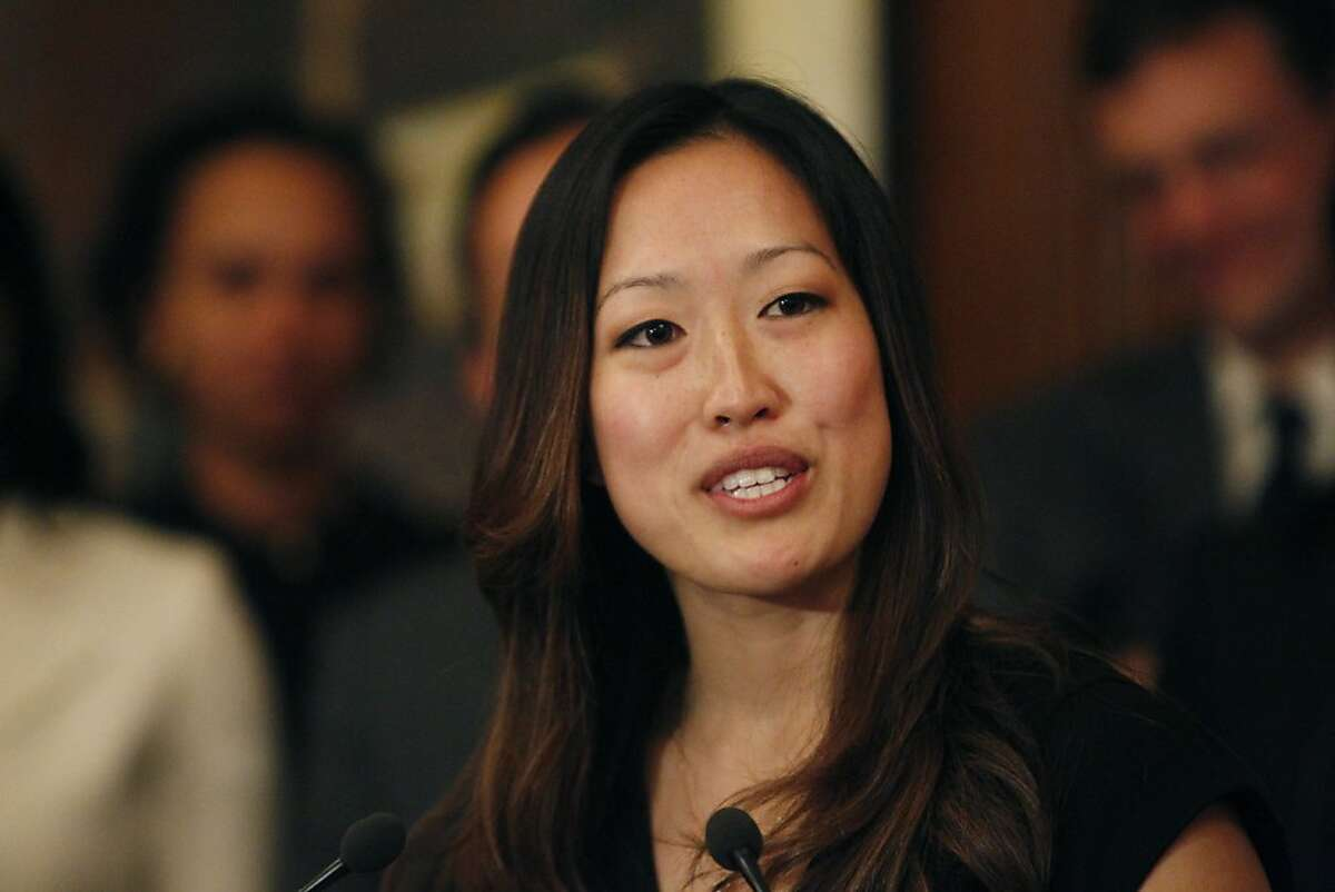 Katy Tang, legislative aide to outgoing Supervisor Carmen Chu, speaks during a press conference after Mayor Ed Lee announced Tang as his pick to replace Chu as the District Four representative on the Board of Supervisors on Tuesday, February 26, 2013 in San Francisco, Calif.