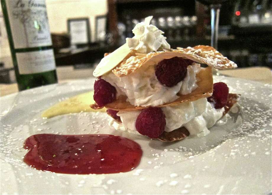 Mille-feuilles with whipped cream and raspberry as interpreted by Philippe Harel at Sal -Sucr Photo: Alison Cook
