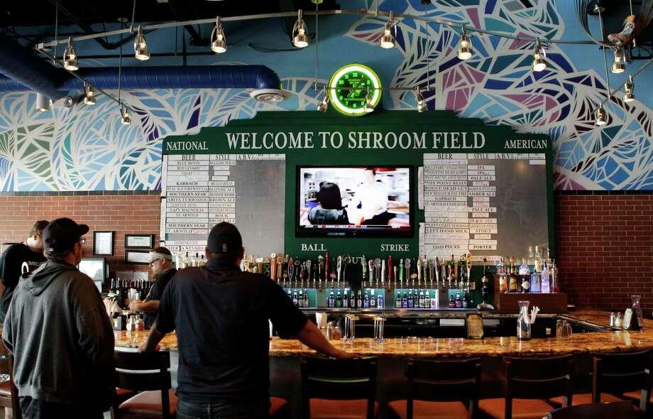 Bar area shown at Mellow Mushroom, 16000 Stuebner Airline Rd., Wednesday, Feb. 20, 2013, in Spring. ( Melissa Phillip / Houston Chronicle ) Photo: Melissa Phillip, Staff / © 2013  Houston Chronicle