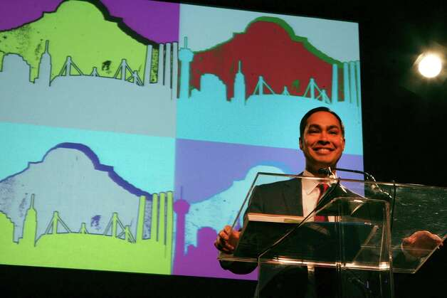 San Antonio Mayor Julián Castro presents his annual State of the City address on Feb. 26, 2013, at the Henry B. Gonzalez Convention Center. Photo: Cynthia Esparza, San Antonio Express-News / ©2013 San Antonio Express-News