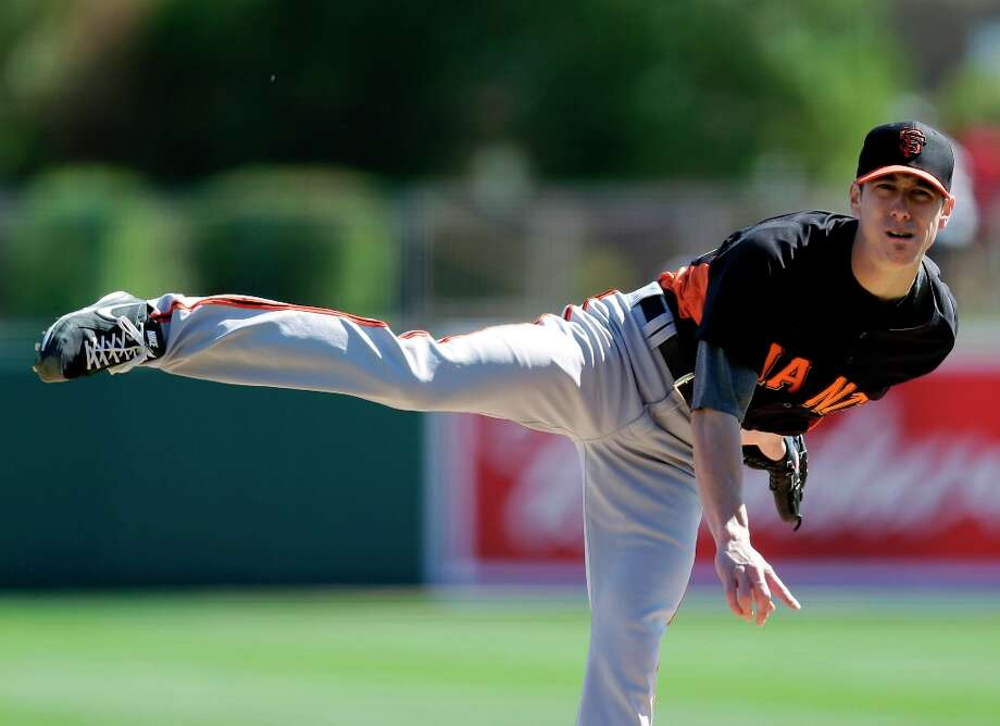 San Francisco Giants starting pitcher Tim Lincecum throws against the Los Angeles Dodgers during the second inning of an exhibition spring training baseball game on Tuesday, Feb. 26, 2013 in Glendale. Ariz. (AP Photo/Marcio Jose Sanchez) Photo: Marcio Jose Sanchez, Associated Press / AP