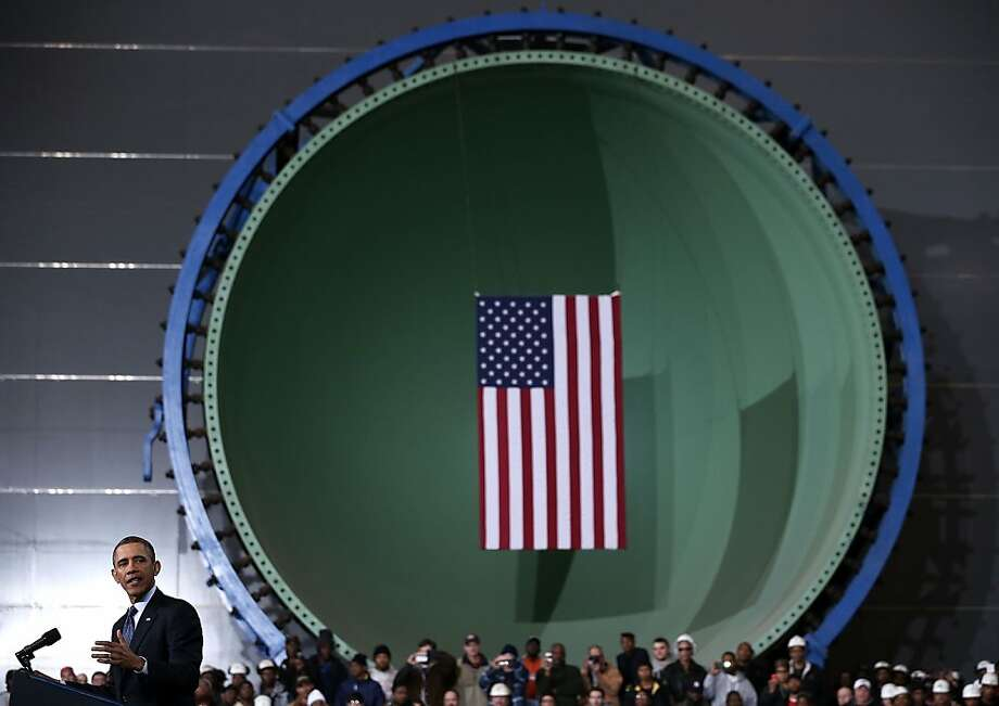 NEWPORT NEWS, VA - FEBRUARY 26:  U.S. President Barack Obama speaks during a visit to Newport News Shipbuilding February 26, 2013 in Newport News, Virginia. Obama spoke on the impact from the sequester would be for the defense industry and its workers.  (Photo by Alex Wong/Getty Images)  *** BESTPIX *** Photo: Alex Wong, Getty Images