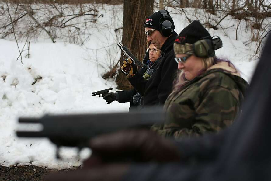 WALLINGFORD, CT - FEBRUARY 24:  Students learn to fire their pistols at a class taught by King 33 Tr