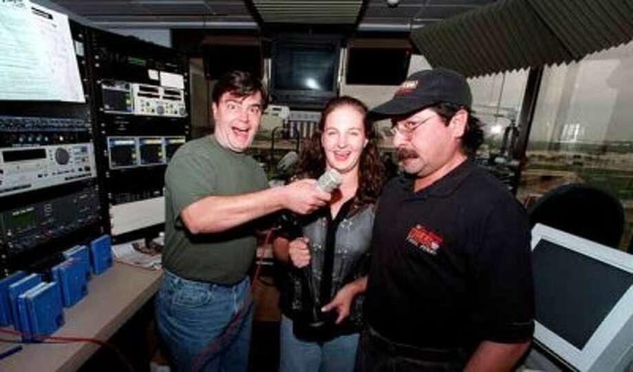 John Lisle, Kelley Kendall and Steve Hahn, in studio for the Lisle & Hahn morning show for KISS-FM in 1999. Photo: Charles Barksdale