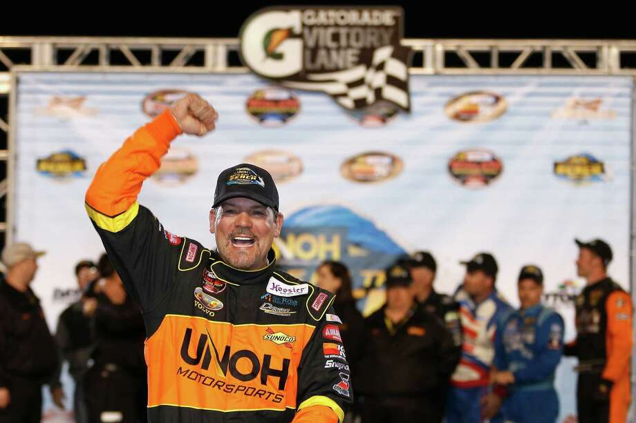 DAYTONA BEACH, FL - FEBRUARY 19:  Steve Park, driver of the #20 UNOH Ford, celebrates in victory lane after winning the Whelen Modified Series UNOH Battle At The Beach at Daytona International Speedway on February 19, 2013 in Daytona Beach, Florida.  (Photo by Todd Warshaw/NASCAR via Getty Images) Photo: Todd Warshaw, NASCAR Via Getty Images / 2013 NASCAR