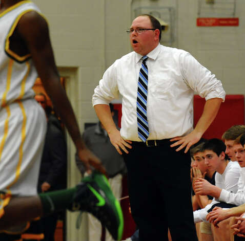 Wilton Head Coach Joel, during FCIAC boys basketball semifinals action in Fairfield, Conn. on Tuesday February 26, 2013. Photo: Christian Abraham / Connecticut Post