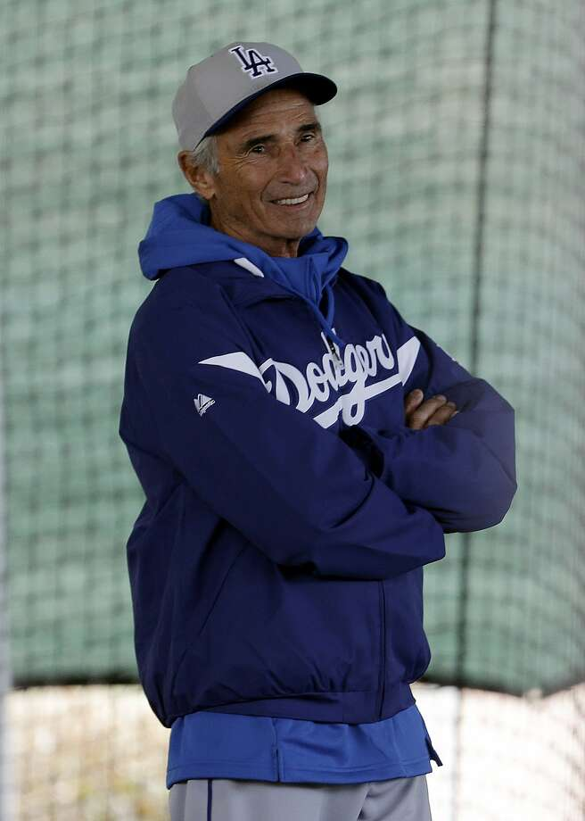 Los Angeles Dodgers Hall of Fame pitcher Sandy Koufax watches workouts during spring training baseball in Phoenix, Wednesday, Feb. 20, 2013.  (AP Photo/Paul Sancya) Photo: Paul Sancya, Associated Press