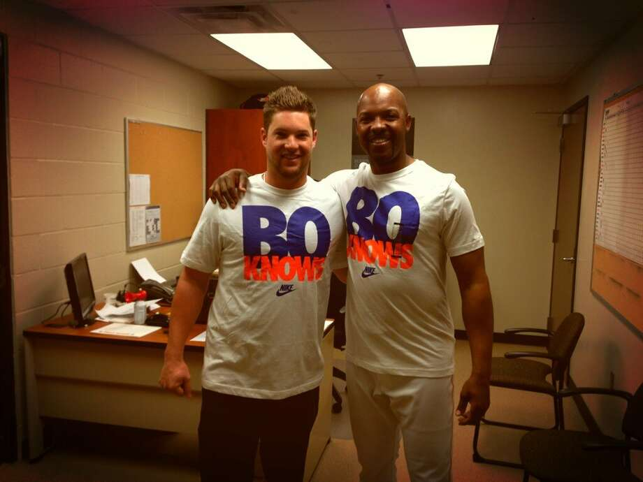 Who would have known two T-shirts from an old Bo Jackson campaign would be found by Bud Norris, left, to share with new Astros manager Bo Porter? Photo: Handout