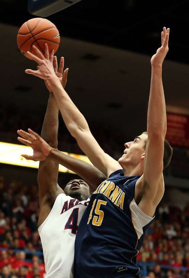 TUCSON, AZ - FEBRUARY 10:  Solomon Hill #44 of the Arizona Wildcats has his shot blocked by David Kravish #45 of the California Golden Bears during the college basketball game at McKale Center on February 10, 2013 in Tucson, Arizona. The Golden Bears defeated the Wildcats 77-69. (Photo by Christian Petersen/Getty Images) Photo: Christian Petersen, Getty Images