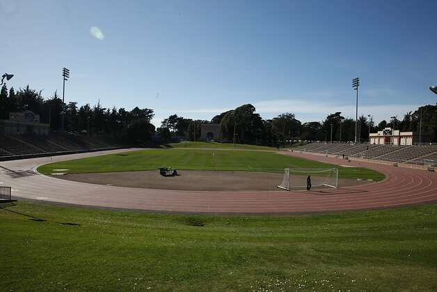 Potholes, scuff marks and puddles plague the oval in Golden Gate Park. Photo: Lea Suzuki, The Chronicle
