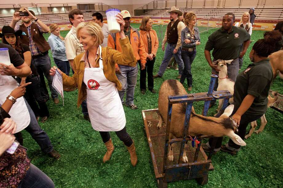 Dana Tyson of Sunny 99.1 celebrates her win during the Celebrity Dairy Goat Milking contest. Photo: Billy Smith II, Houston Chronicle / © 2013  Houston Chronicle