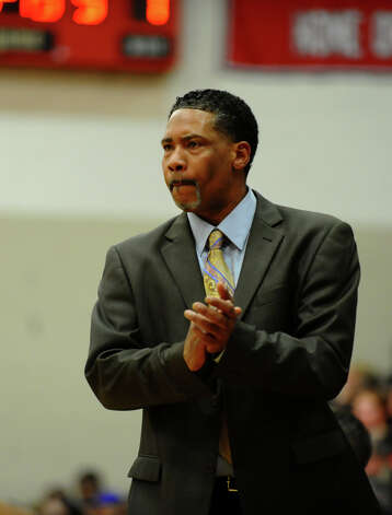 St. Joseph Head Coach Chris Watts, during FCIAC boys basketball semifinals action against Central in Fairfield, Conn. on Tuesday February 26, 2013. Photo: Christian Abraham / Connecticut Post