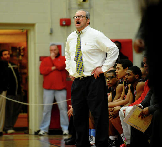 Central Head Coach Barry McCleod, during FCIAC boys basketball semifinals action against St. Joseph in Fairfield, Conn. on Tuesday February 26, 2013. Photo: Christian Abraham / Connecticut Post