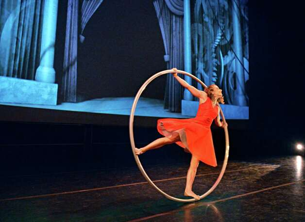 Cirque Eloize's Angelica Bongiovanni performs during the announcement Tuesday Feb. 26, 2013, that Cirque Eloize will make Proctors in Schenectady its new summer home. (John Carl D'Annibale / Times Union) Photo: John Carl D'Annibale / 10021299A