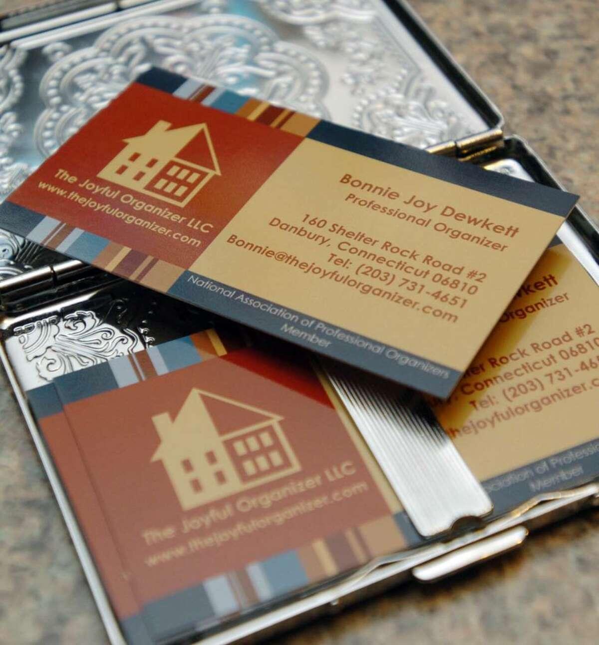 Business cards from professional organizer Bonnie Dewkett, Monday, Dec. 28, 2009.