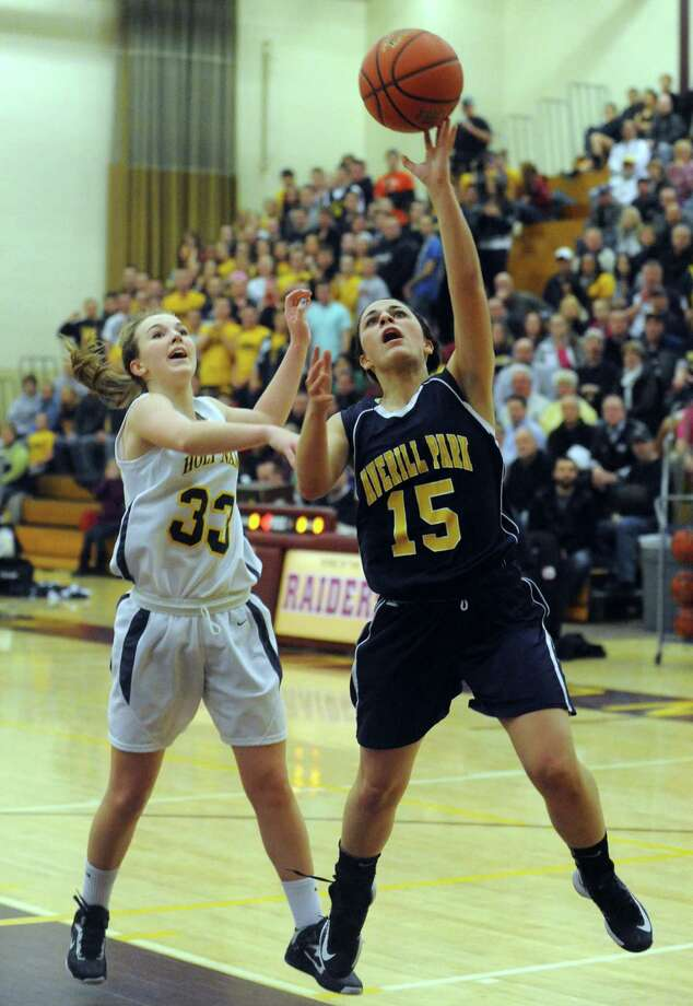 Averill Park's Jenna Horton goes in for a score during their Class A Section II girl's basketball semifinal against Holy Names on Tuesday Feb. 26, 2013 in Colonie, N.Y. (Michael P. Farrell/Times Union) Photo: Michael P. Farrell