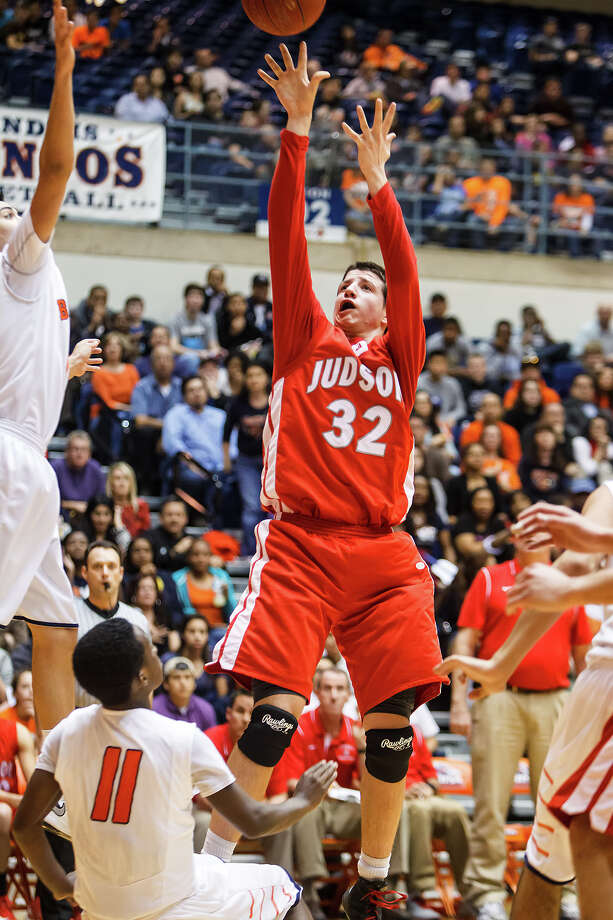 Judson's Tanner Leissner (center) puts up a jump shot during the second half of their Class 5A boys basketball third round game with Brandeis at the UTSA Convocation Center on Tuesday, Feb. 26, 2013.  Brandeis won the game 60-53. Photo: Marvin Pfeiffer, San Antonio Express-News / Express-News 2013