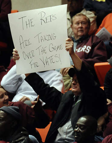 Silsbee High School fans become irritated with the calls in the second half of the Class 3A Region III quarterfinals game against Houston Yates High School.   Photo taken: Randy Edwards/The Enterprise Photo: Randy Edwards