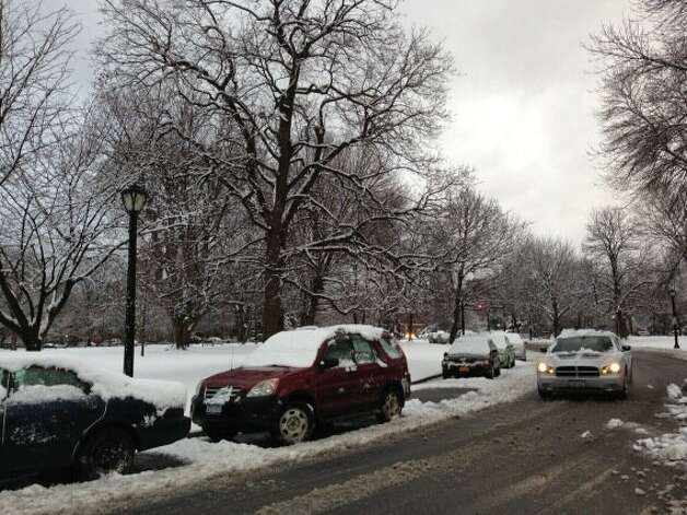 The snowy streets of Washington Park in Albany on Feb. 27, 2013. (Skip Dickstein/Times Union)