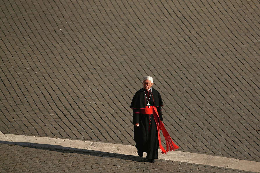 VATICAN CITY, VATICAN - FEBRUARY 27:  A cardinal arrives in St Peter's Square before Pope Benedict X