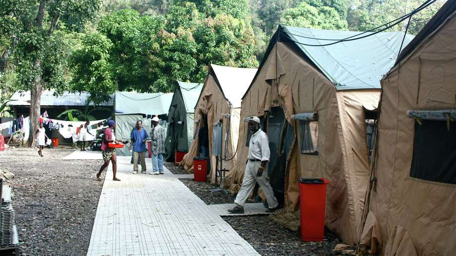 Temporary emergency tents at the Hôpital Sacré Coeur in Milot, Haiti after the 2010 earthquake.New Canaan teen Bobby Erickson donated more than 80 sheets to this hospital as part of his Eagle Scout project. Photo: Contributed