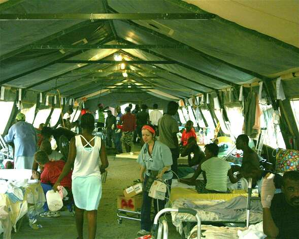 Inside one of the tents at the Hôpital Sacré Coeur in Milot, Haiti. For his Eagle Scout service project, New Canaan teen Bobby Erickson collected and donated more than 80 sheets to the hospital. Photo: Contributed