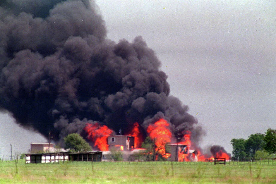 "On Feb. 28, 1993 federal authorities began a siege on the Branch Davidian complex, which ended violently 50 days later.Flames engulf the Branch Davidian compound April 20, 1993 in Waco, Texas. The standoff between lawmen and militant anti-government ""freemen"" on a Montana farm is testing FBI Director Louis J. Freeh's determination to avoid repeating the deadly outcomes of FBI sieges at Ruby Ridge and Waco. Photo: SUSAN WEEMS, ASSOCIATED PRESS / AP1996"