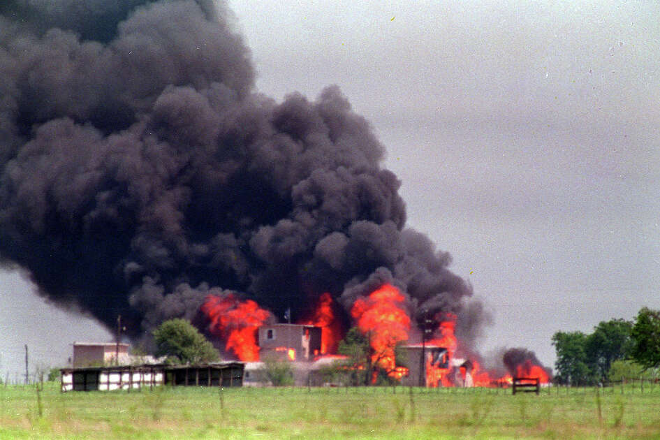 Flames engulf the Branch Davidian compound April 20, 1993 in Waco, Texas. The standoff between lawmen and militant anti-government ``freemen'' on a Montana farm is testing FBI Director Louis J. Freeh's determination to avoid repeating the deadly outcomes of FBI sieges at Ruby Ridge and Waco. (AP Photo/Susan Weems, files)