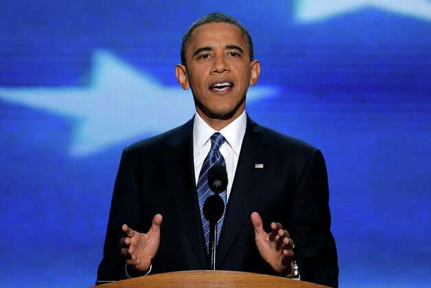 President Barack Obama addresses the Democratic National Convention in Charlotte, N.C., on Thursday, Sept. 6, 2012. (AP Photo/J. Scott Applewhite) Photo: J. Scott Applewhite, Associated Press / AP