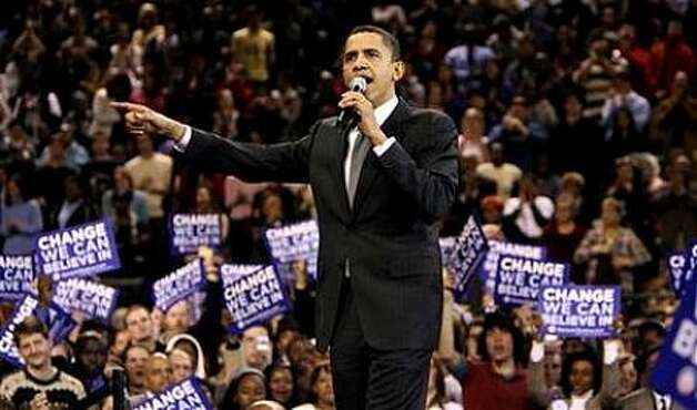 Democratic presidential hopeful Sen. Barack Obama, D-Ill., makes remarks at a rally Monday, Feb. 11, 2008, in Baltimore. Photo: Rick Bowmer, AP / AP