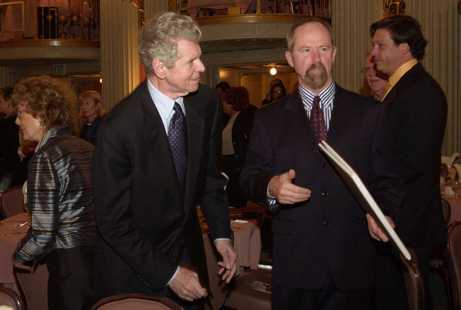 Pianist Van Cliburn, left, and National Academy of Recording Arts and Sciences' President/CEO Michael Greene, right, attend the salute to classical music luncheon, Sunday, Feb. 24, 2002, in Los Angeles. In recognition of his professional achievements and role as an ambassador of the arts, the academy will honor Cliburn with the President's Merit Award. Photo: RIC FRANCIS, AP / AP
