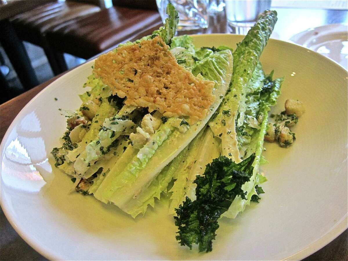 Caesar salad with flash-fried kale at Hubbell & Hudson Bistro in The Woodlands. Photo by Alison Cook