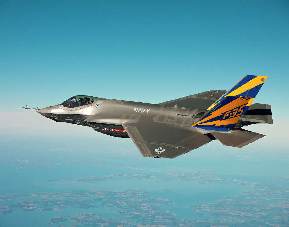 In this image released by the U.S. Navy courtesy of Lockheed Martin, the U.S. Navy variant of the F-35 Joint Strike Fighter, the F-35C, conducts a test flight Feb. 11, 2011, over the Chesapeake Bay. (Photo by U.S. Navy photo courtesy Lockheed Martin via Getty Images) Photo: U.S. Navy, Getty Images / 2011 Lockheed Martin