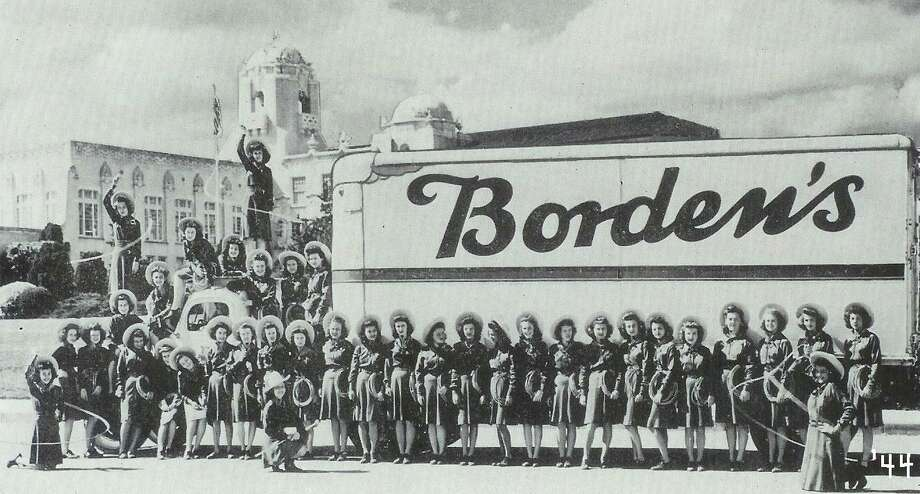 Lassos with the Borden's Milk truck, 1944. Photo: Courtesy Photo,      Lasso Alumni Association