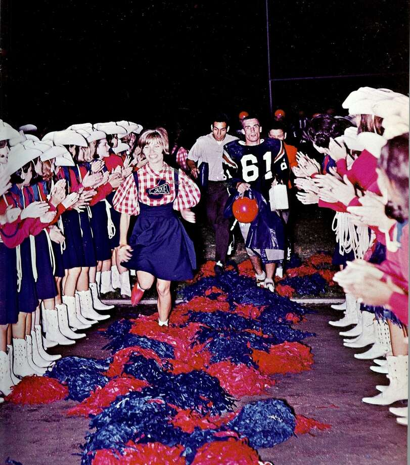 Lassos cheer the Jefferson High Mustangs onto the field at Alamo Stadium, 1967. Photo: Courtesy Photo,      Lasso Alumni Association